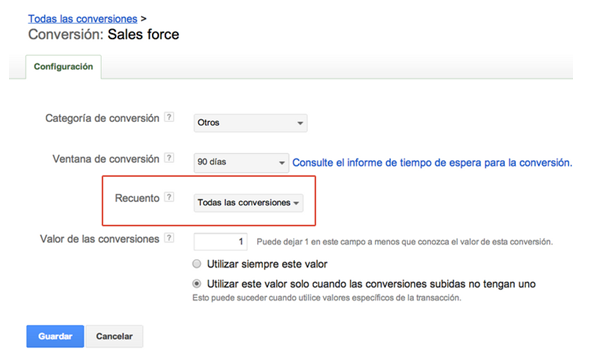 Recuento de conversiones en Google Adwords