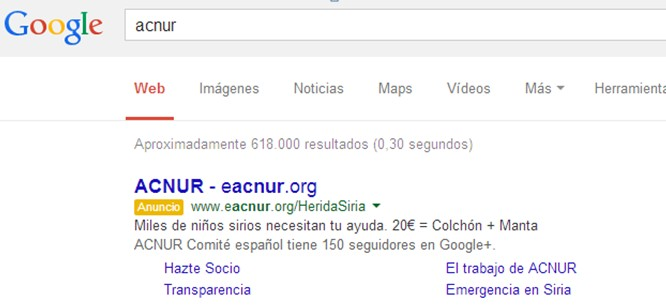 Enlaces de sitio tradicionales Google Adwords