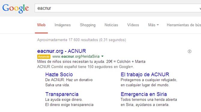 Enlaces de sitio enriquecidos Google Adwords