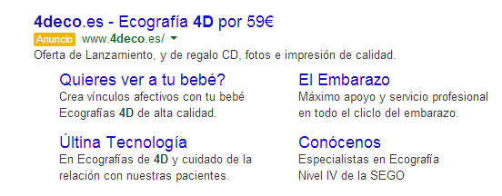 Enlaces mejorados Google Adwords