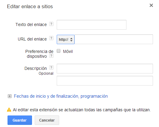 Edición de enlaces de sitio Google Adwords