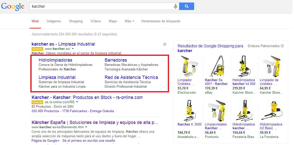 Enlaces de sitio mejorados Google Adwords 4 enlaces
